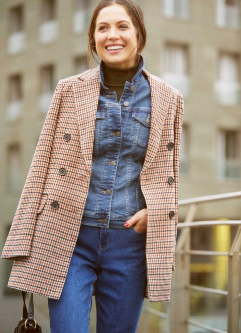 total denim look with blazer