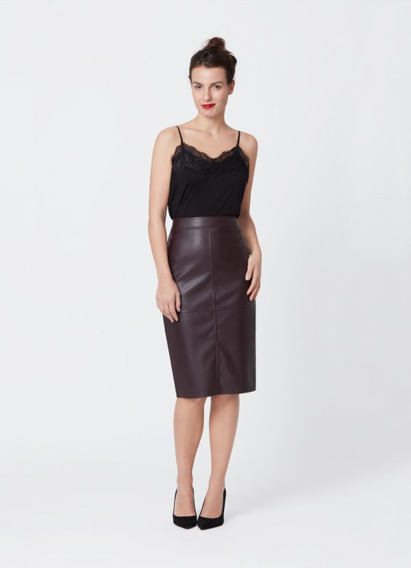 faux leather skirt with this strappy lingerie top