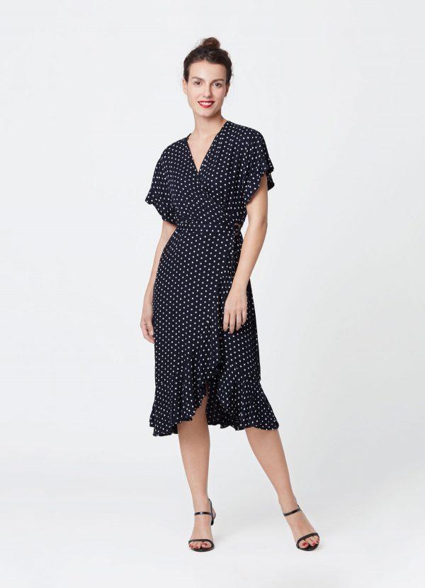 look polka dots wrap dress