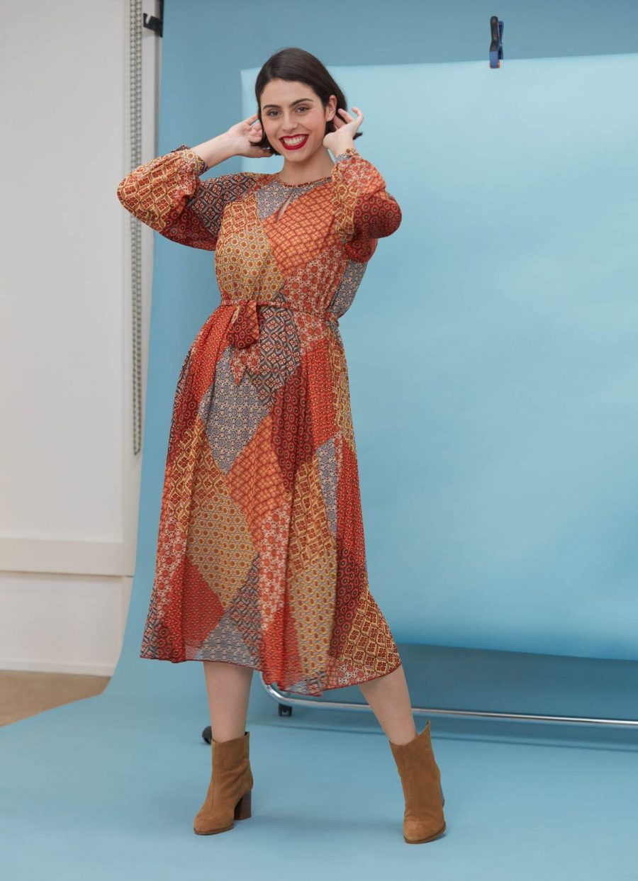 maxi robe fluide patchwork tendance 70s