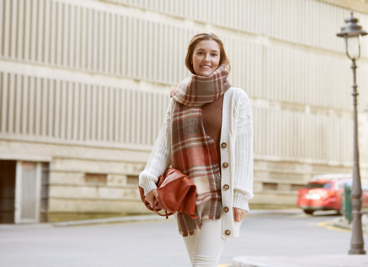 monochromatic look with a cardigan