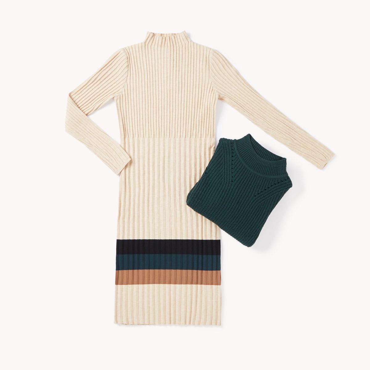 look vestido lana beige
