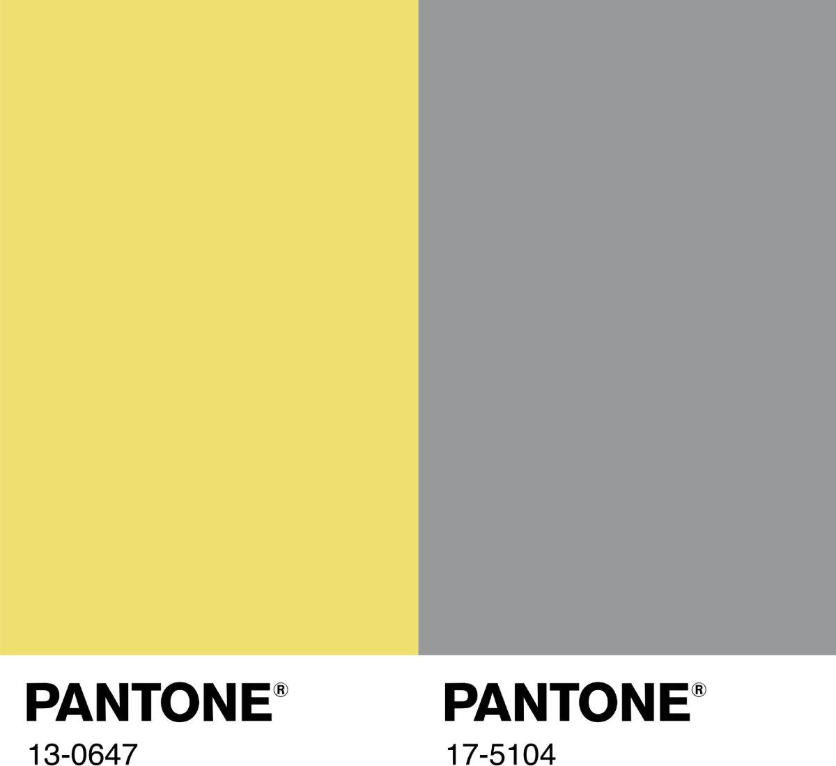 2 couleurs Pantone 2021 l'« illuminating » et l'« ultimate gray »
