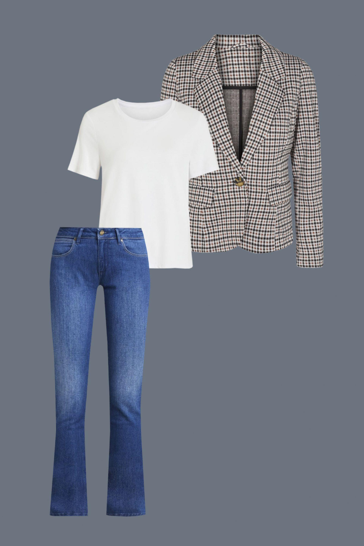 le blazer à carreaux et jeans