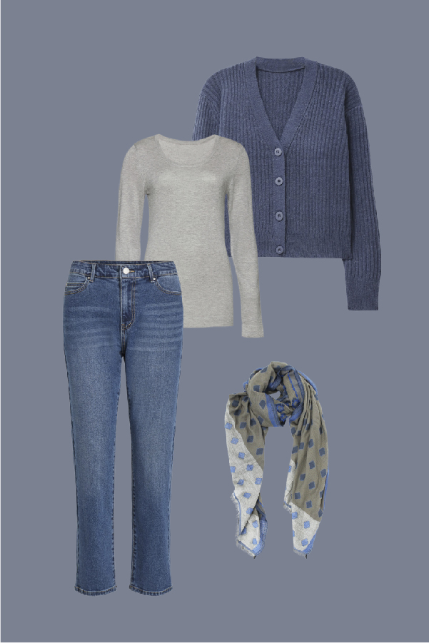 tenue gris et bleu