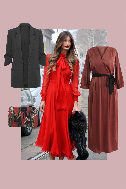 combinar un vestido rojo con negro