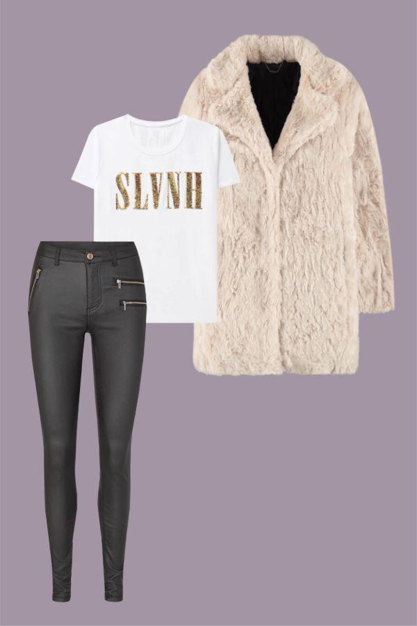 pantalón efecto piel estilo glam