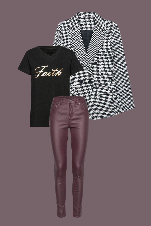 blazer à carreaux et pantalon effet cuir