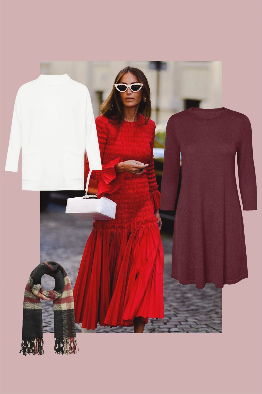 combinar vestido rojo con blanco