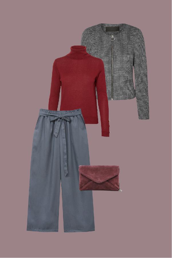 tenue gris et rouge