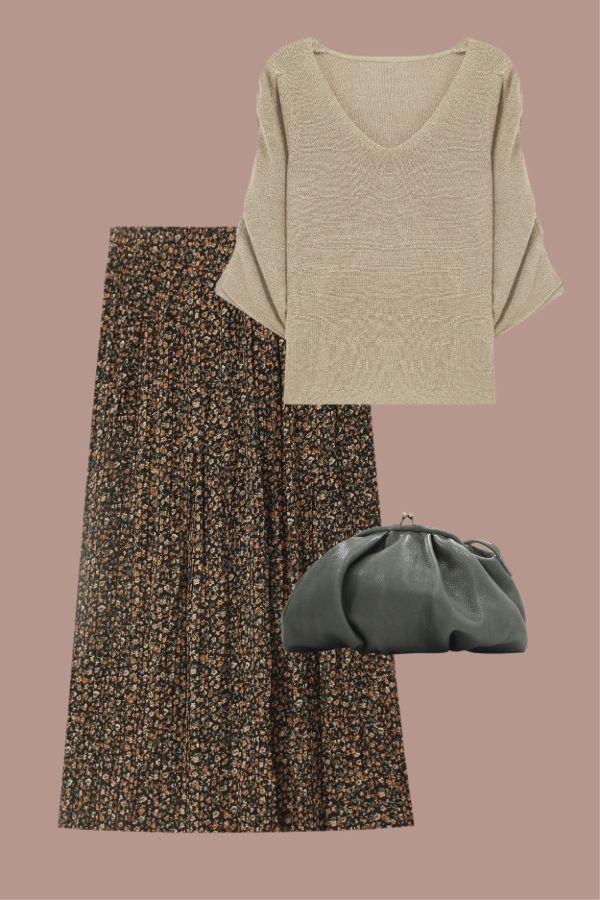 look de navidad con falda midi de estampado floral