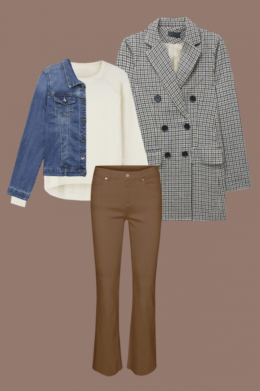 look layering con blazer de cuadros y chaqueta denim