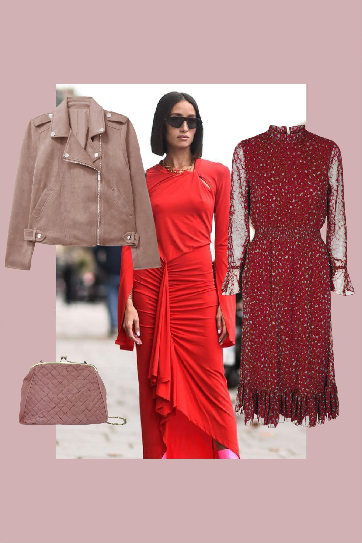 combinar vestido rojo con rosa
