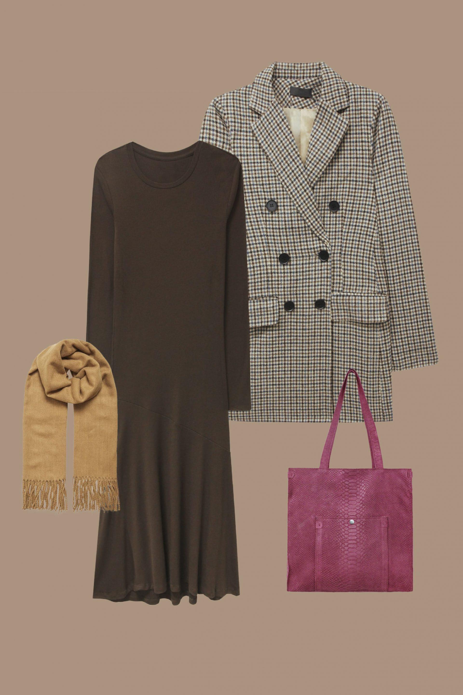 le blazer à carreaux et le maxi robe