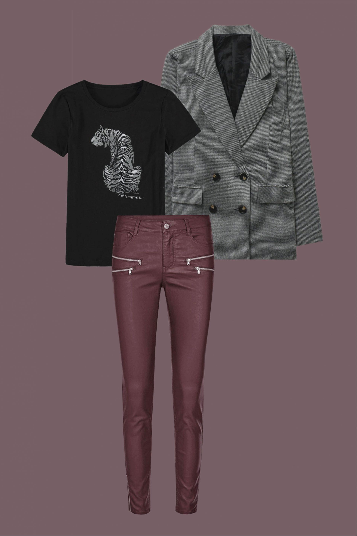 pantalón efecto piel color burgundy look urbano