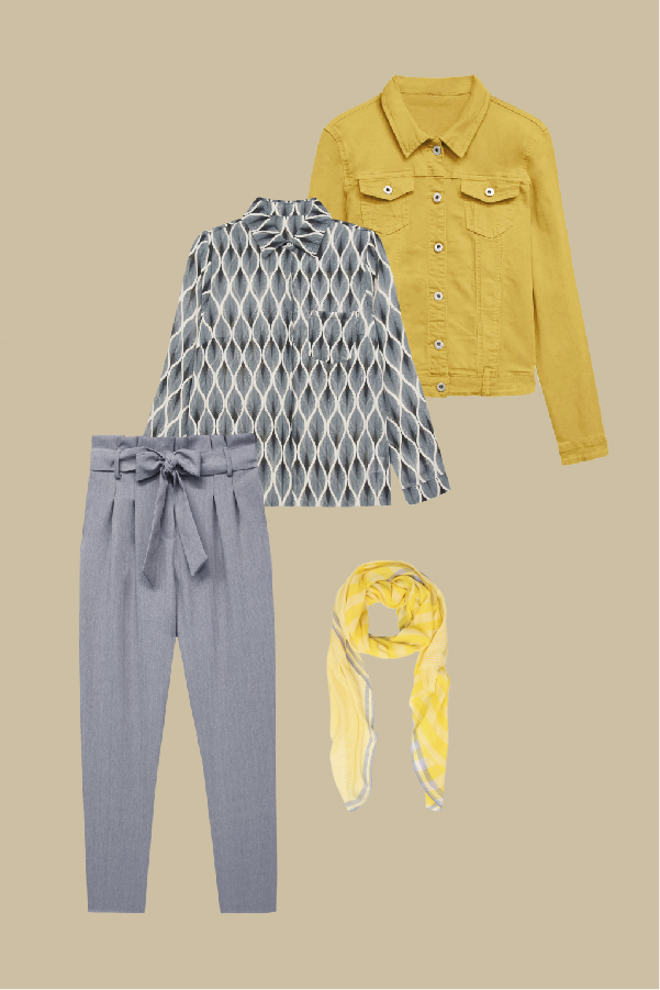 tenue gris et moutarde