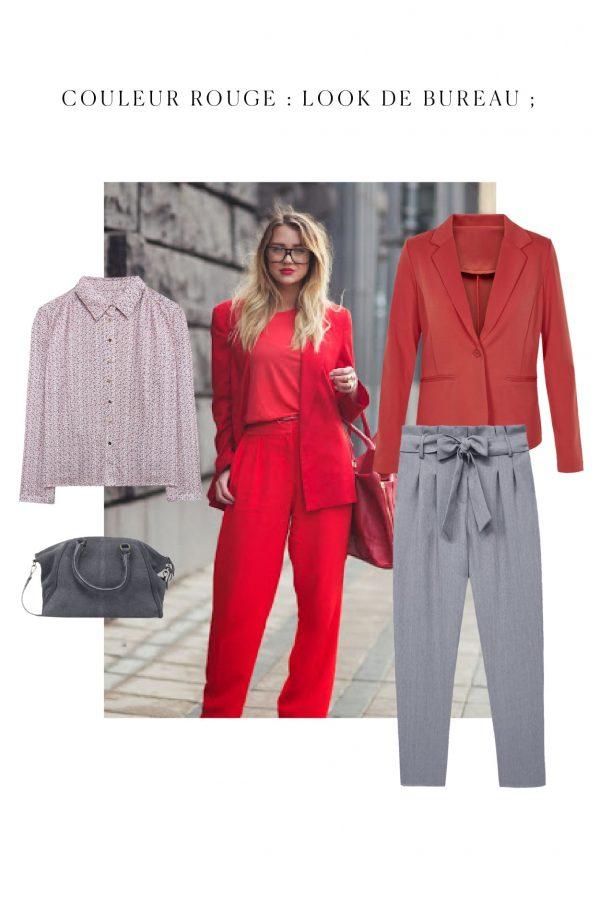 tenue rouge couleur tendance pour bureau