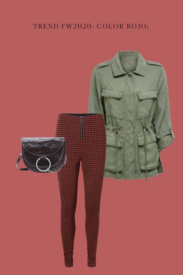 look total trendy con color rojo