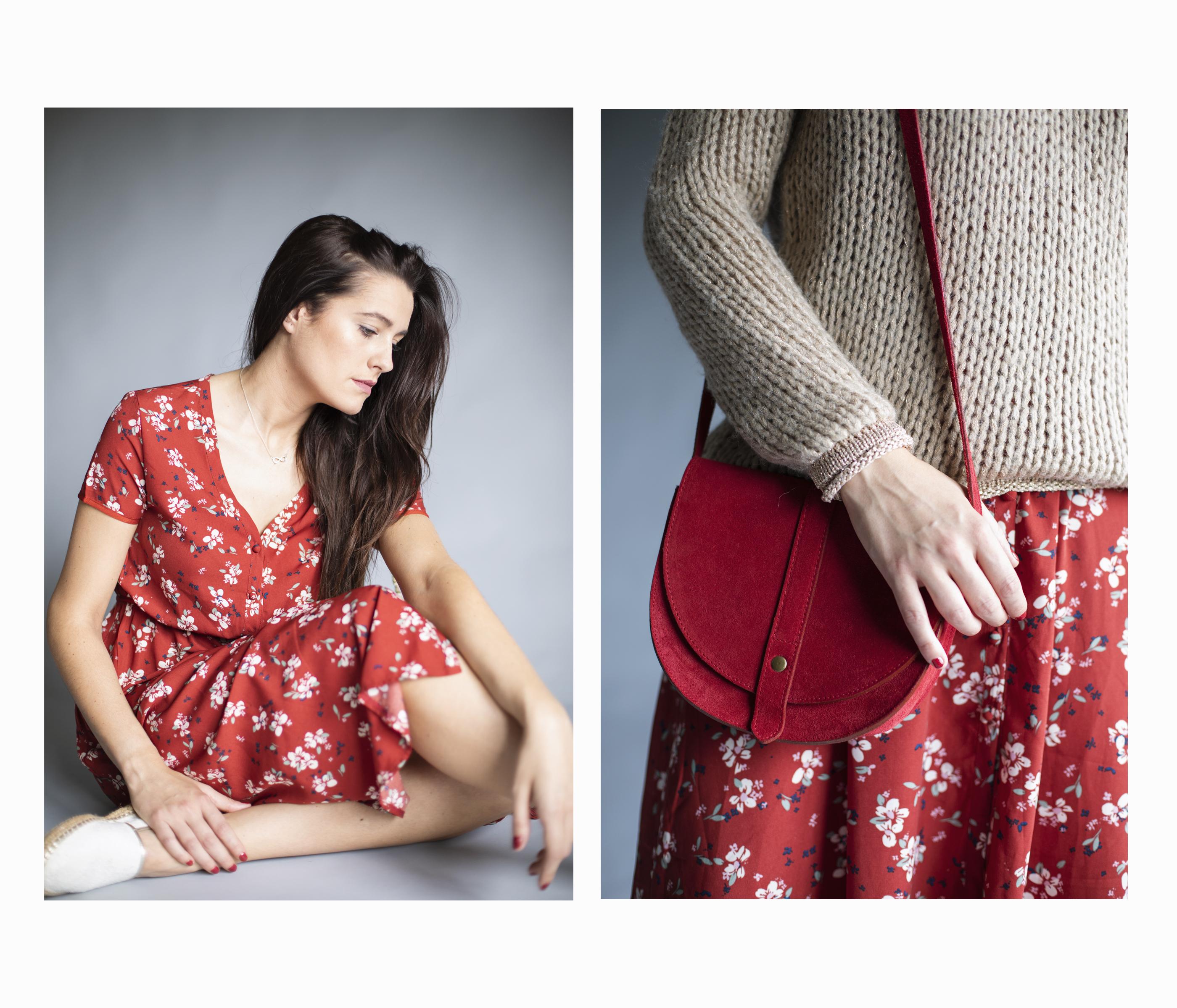 Vestido rojo midi con estampado de flores