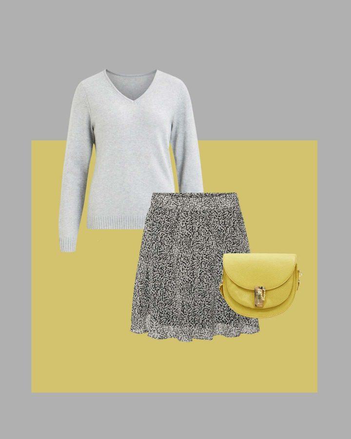 combinar color amarillo con gris