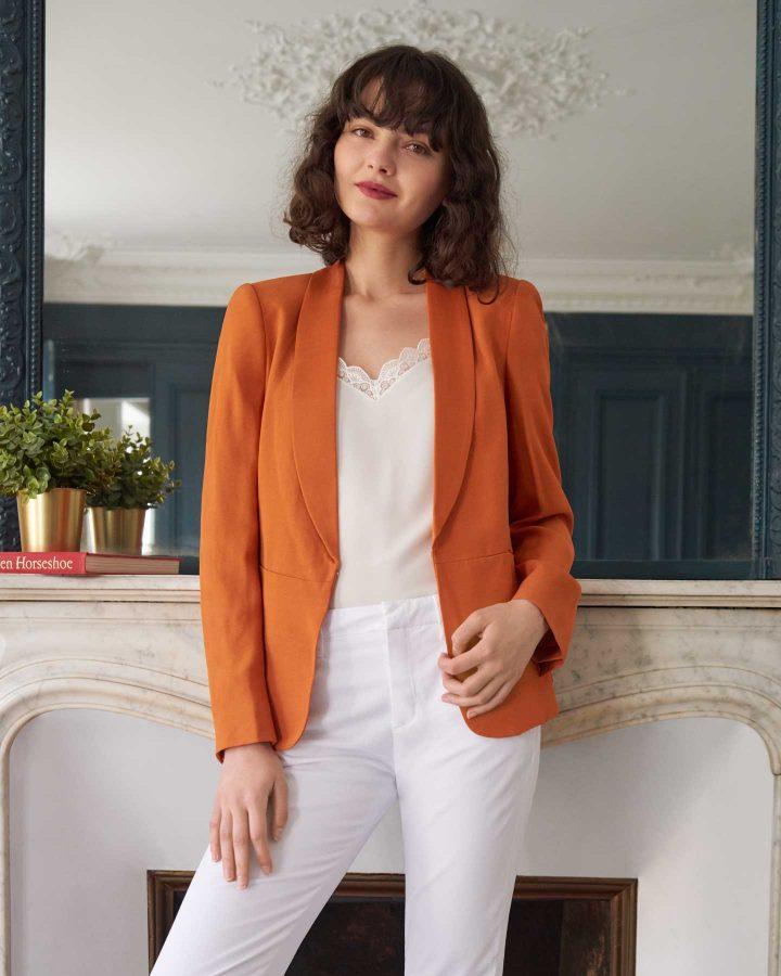 look blazer naranja verano