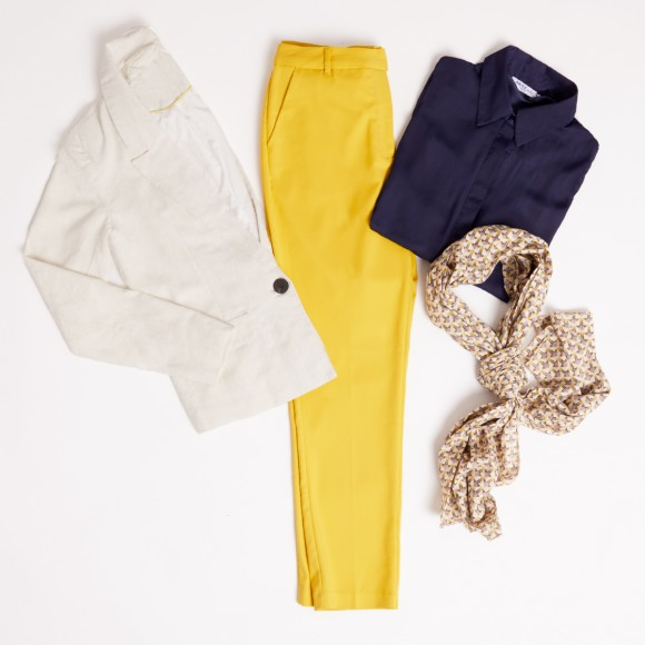 look oficina pantalon chino amarillo