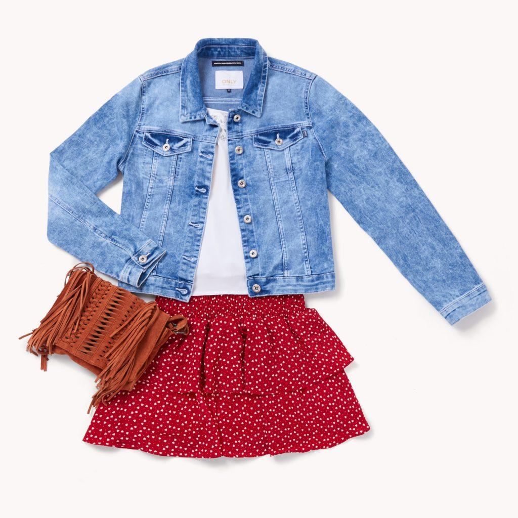 Print skirt with maroon blazer