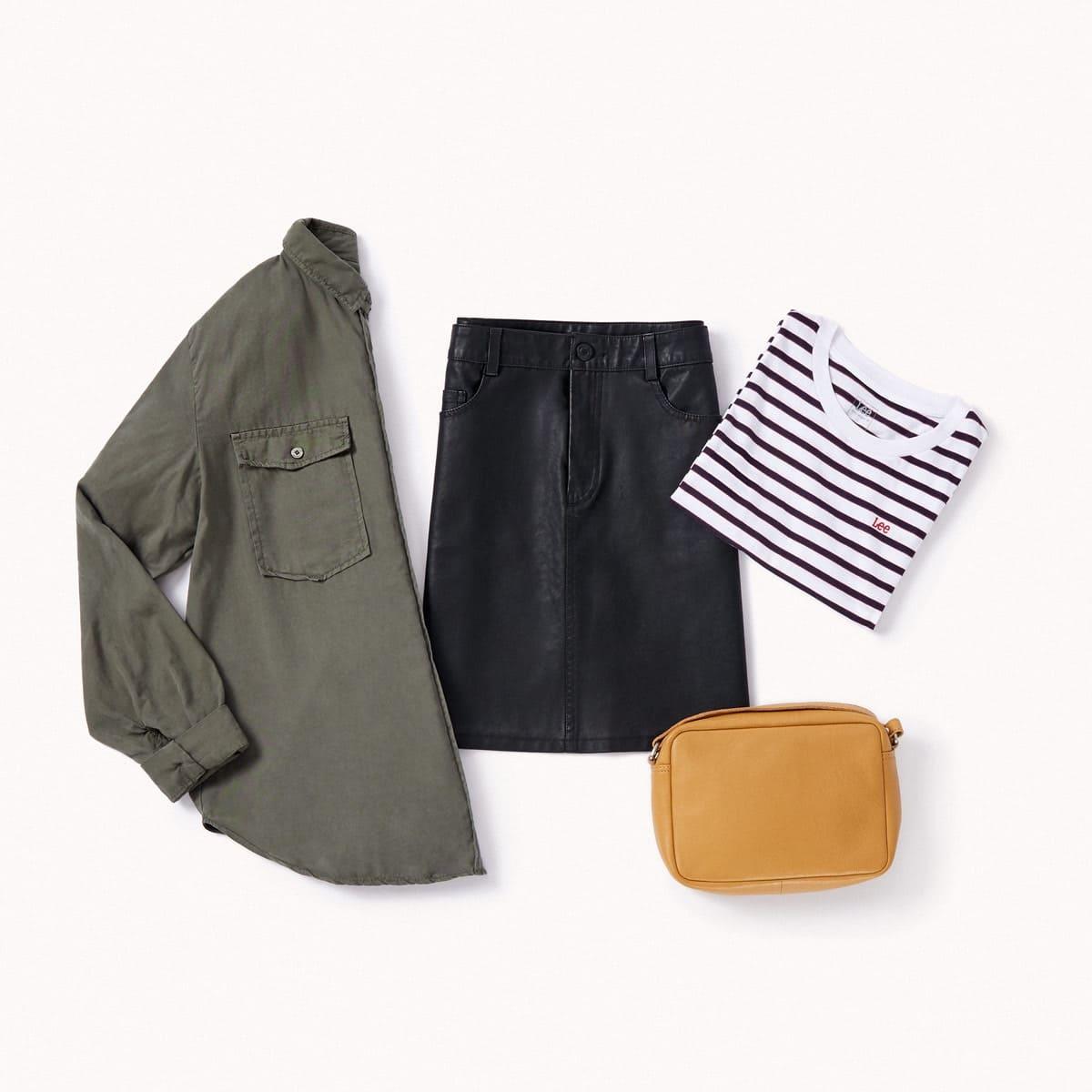 jupe façon cuir et  t-shirt  à rayures