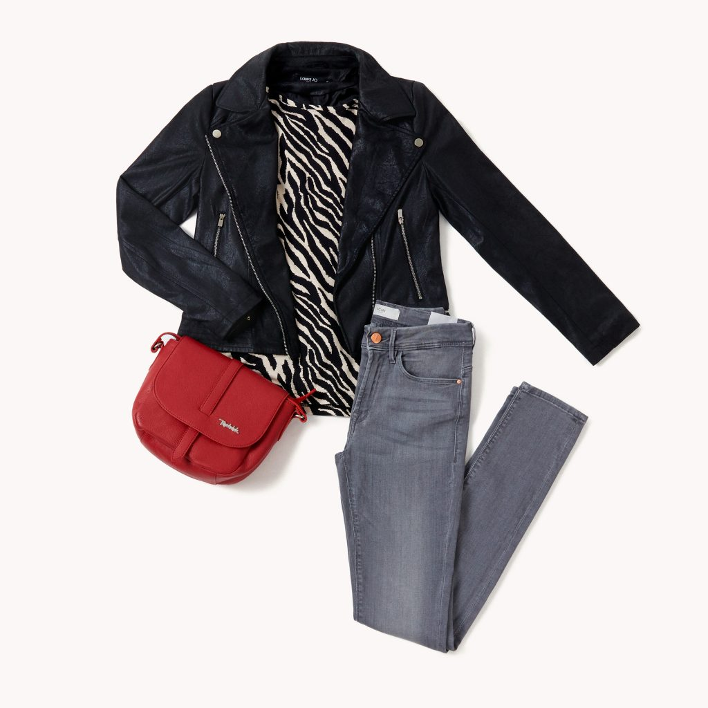 leather trousers with black blazer