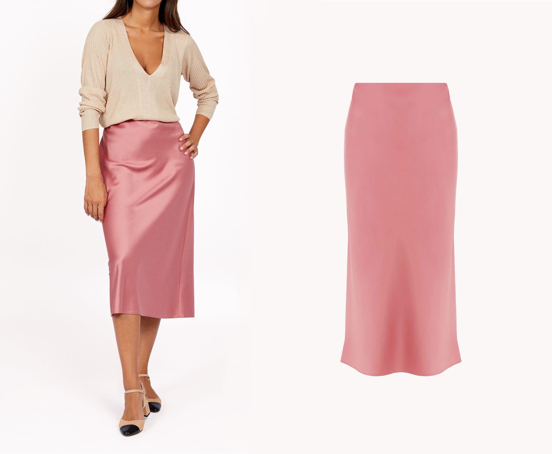 falda midi satén y top efecto shine