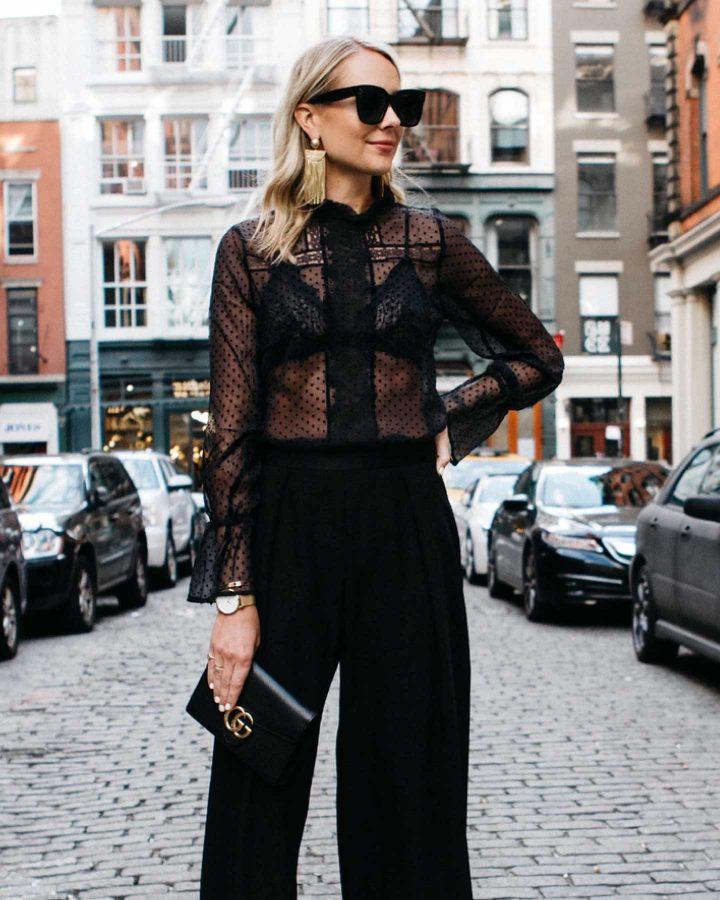 look blusa transparente negra street style