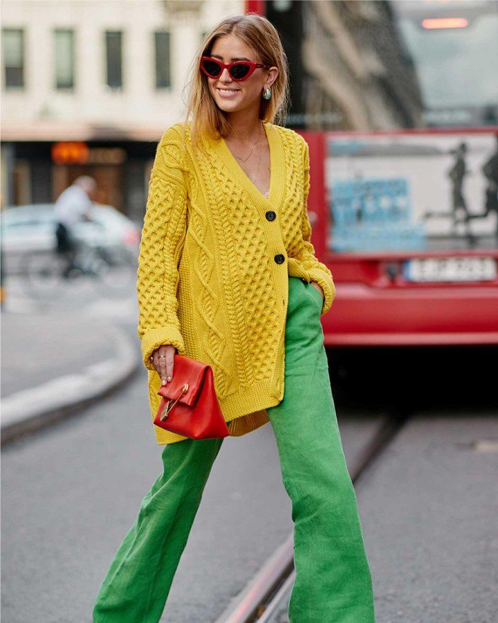 look amarillo y verde