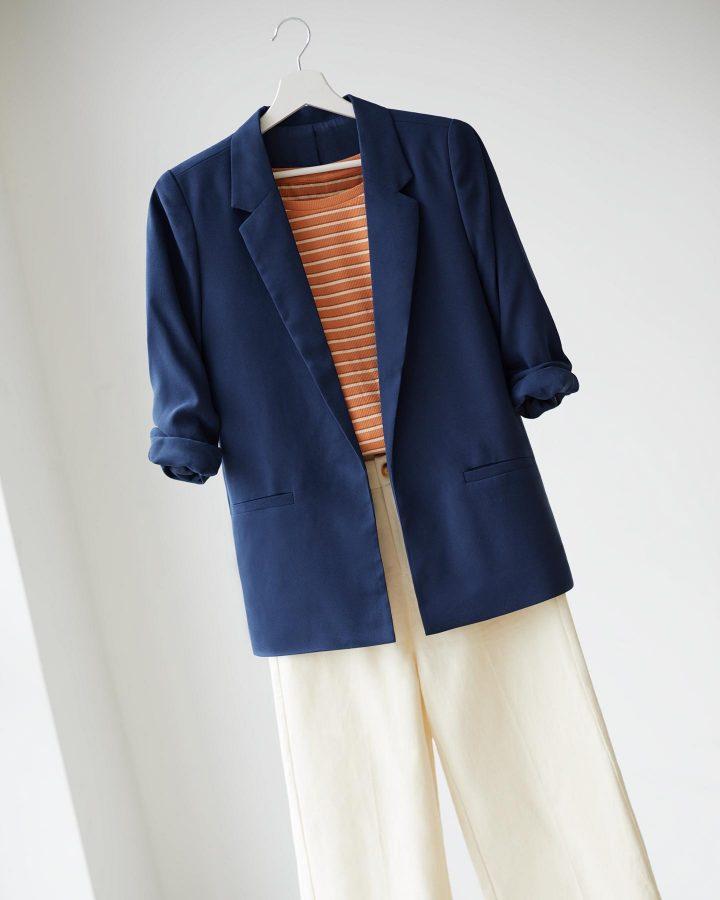 look blazer oversize blu