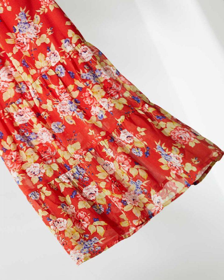 estampado floral rojo vestido corte A