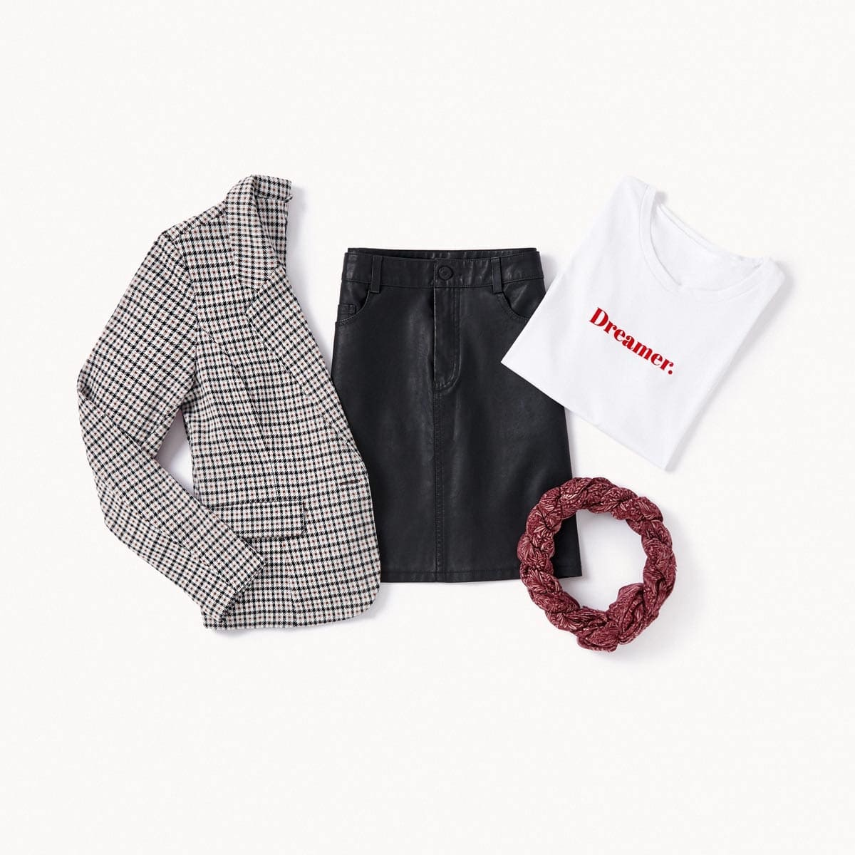 faux  cuir jupe et blazer à carreaux