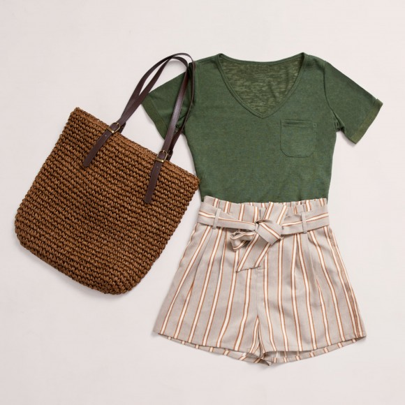 bbq outfit with paper bag shorts and summer top