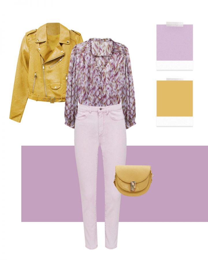 look en lilas et jaune