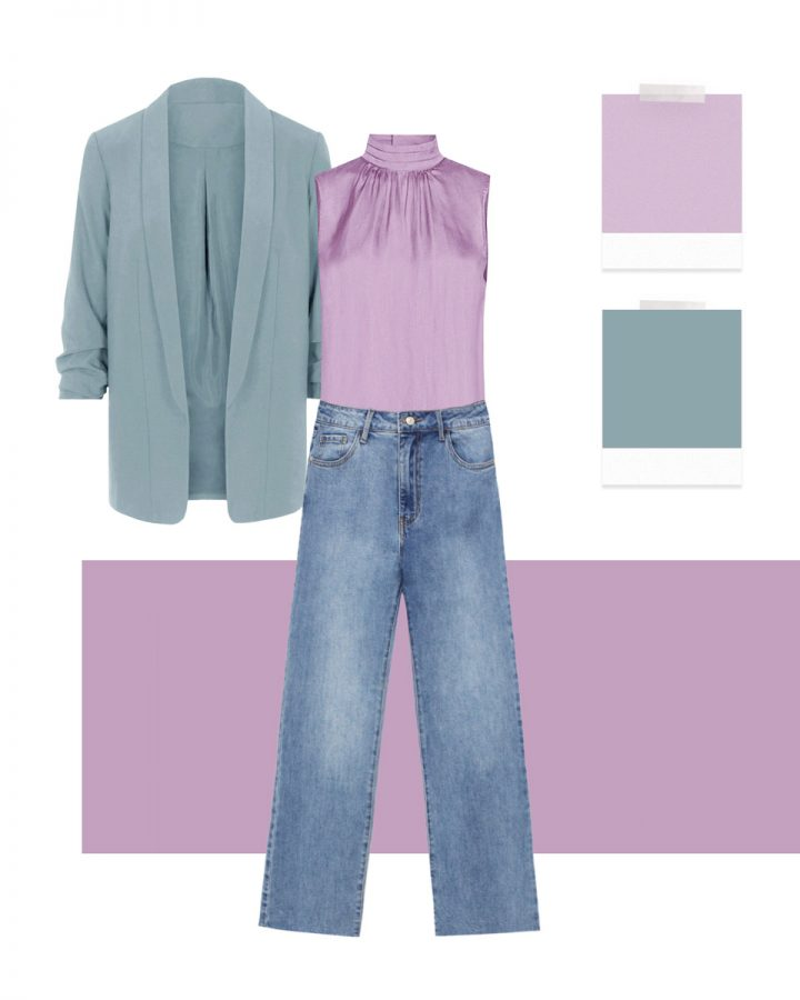 look lila y azul