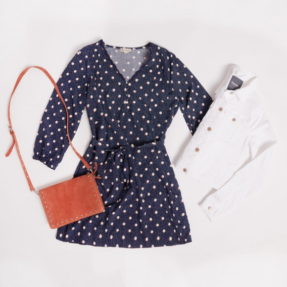 polka dot dress with white denim jacket