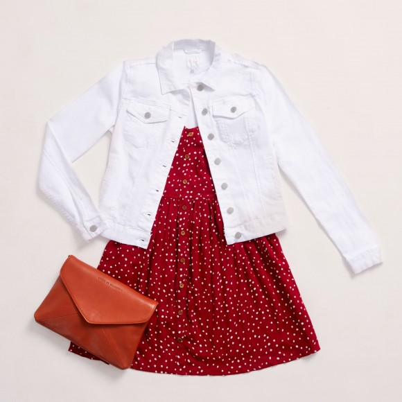 Outfit for day shopping with red dress and white denim jacket