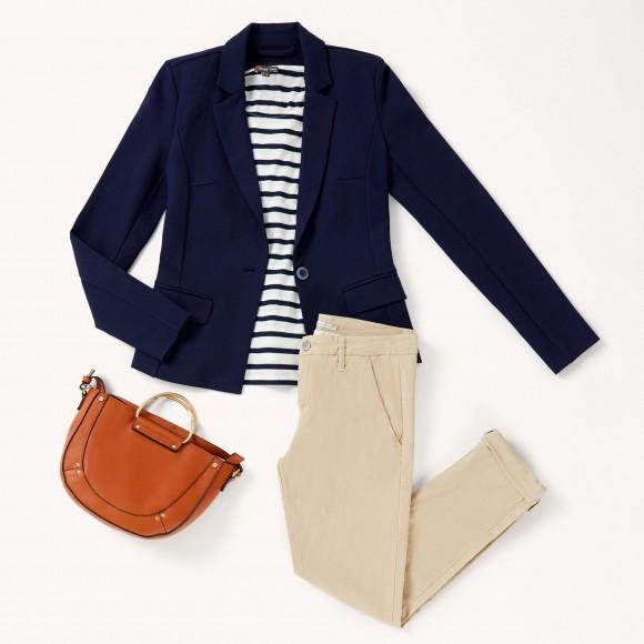 blazer azul marino y top navy