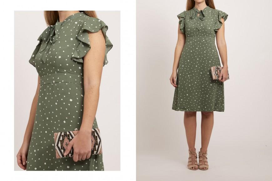 robe de mariée verte à pois