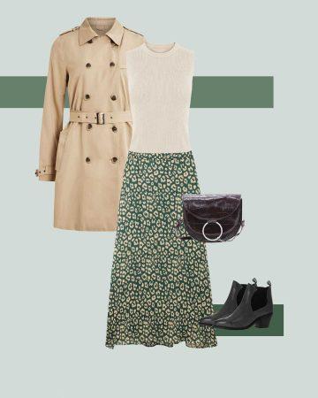 tenue avec jupe à imprimé léopard