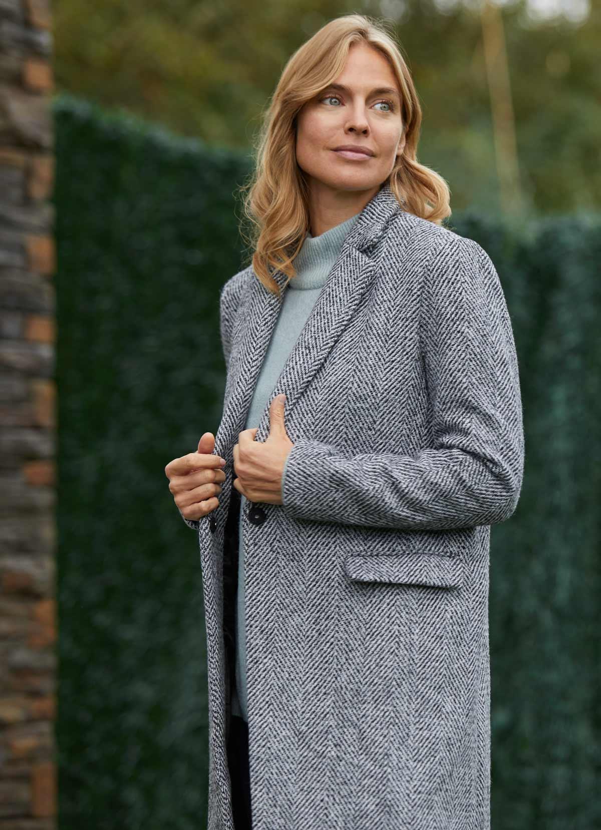 Le style redingote en laine tenue hiver