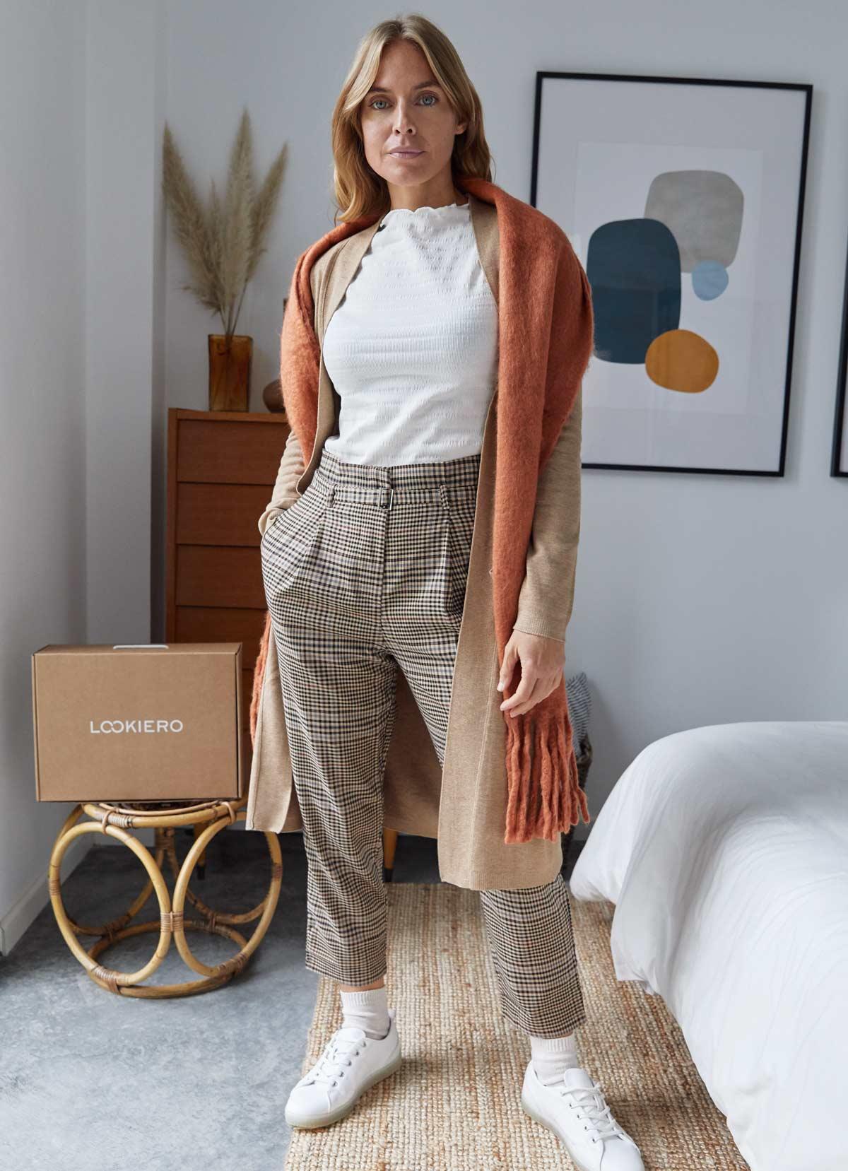 pantalon à pinces imprimé tartan decembre outfit