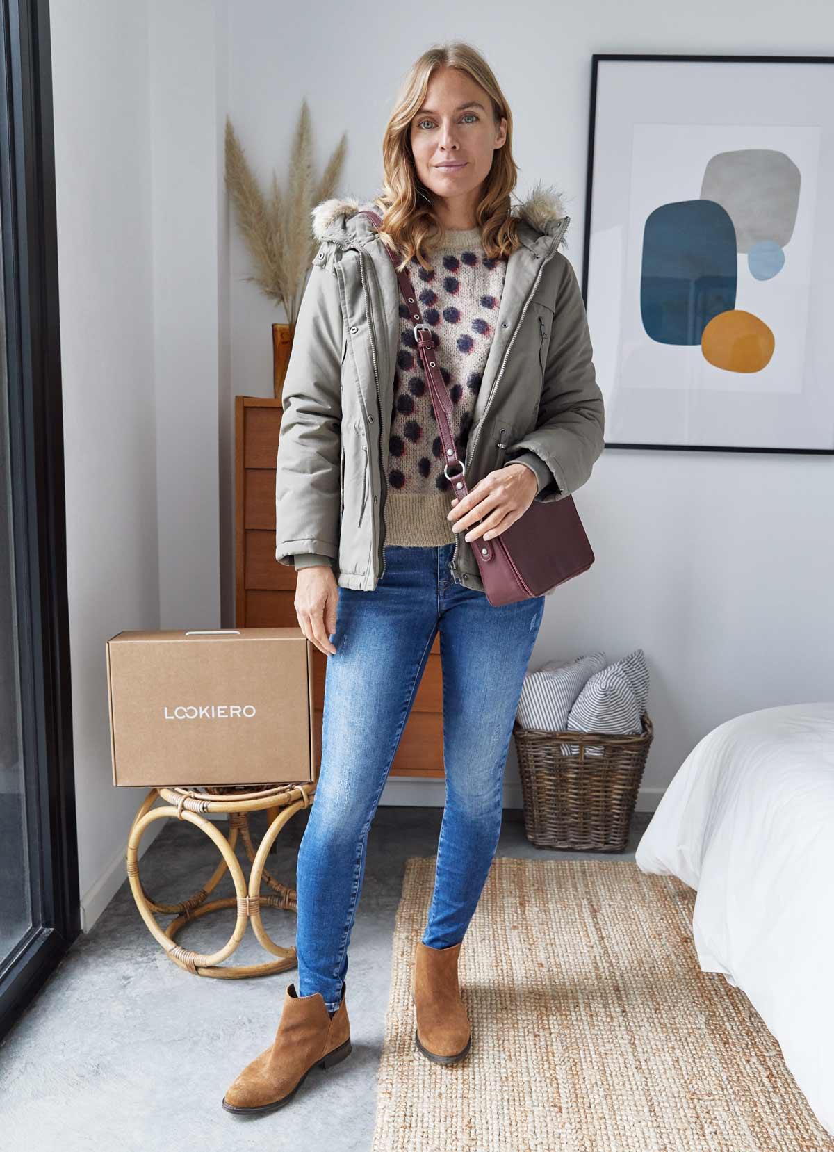 look parka verde khaki y jeans diciembre
