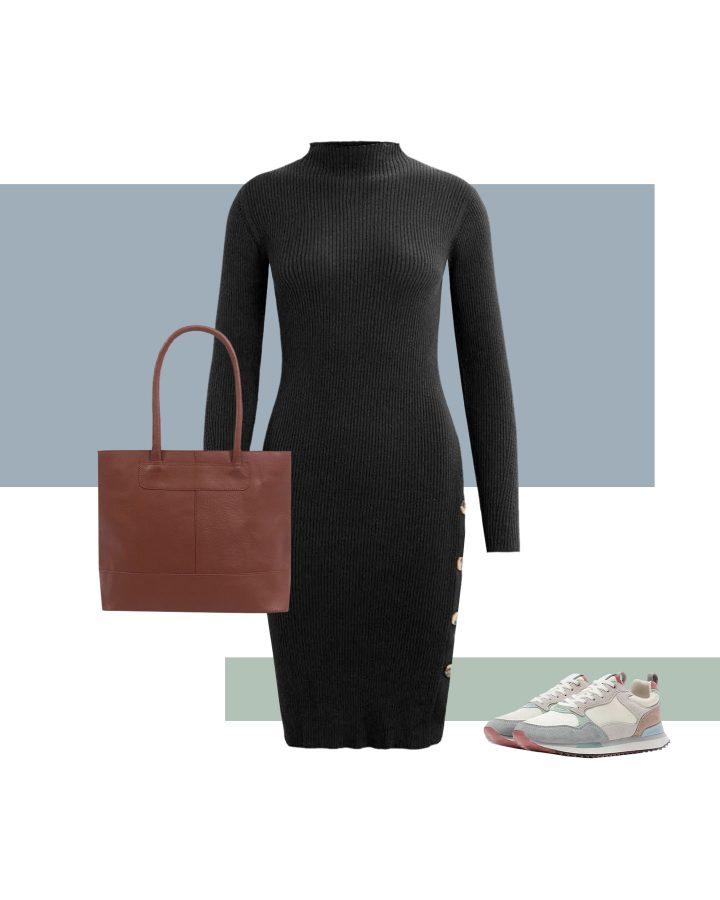 Look con zapatillas de colores y vestido