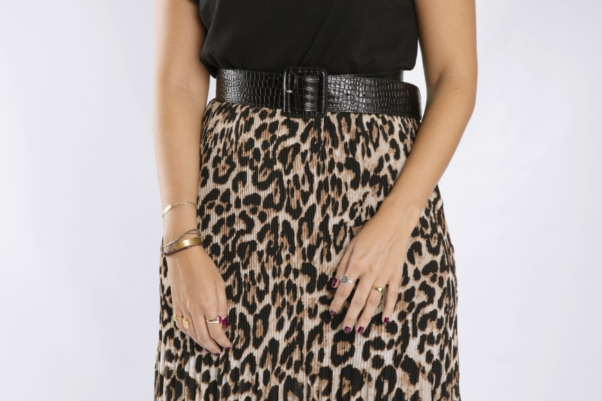 falda plisada midi de leopardo