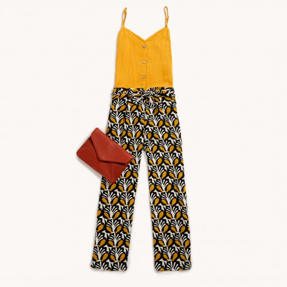Printed trousers with a linen mustard coloured top