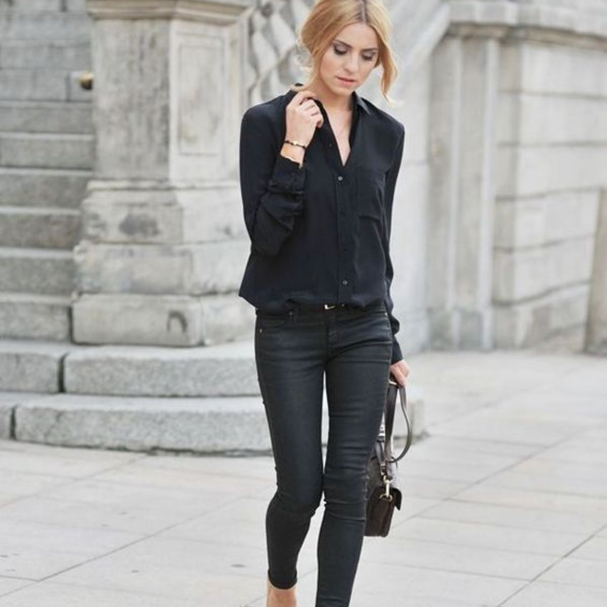 combinar pantalon negro otoño